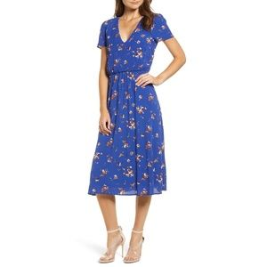 WAYF blue floral blouson midi dress, NEW, 2XL